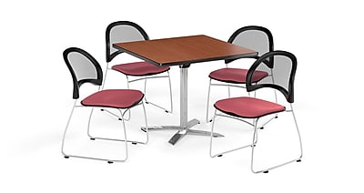 OFM 36 Inch Square Flip Top Cherry Table and Four Coral Pink Chairs (PKG-BRK-170-0008)
