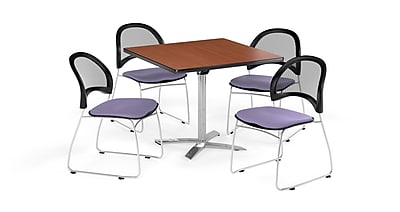 OFM 36 Inch Square Flip Top Cherry Table and Four Lavender Chairs (PKG-BRK-170-0002)