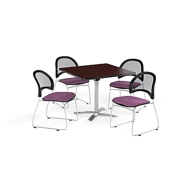 OFM 36 Inch Square Flip Top Mahogany Table and Four Plum Chairs (PKG-BRK-170-0045)