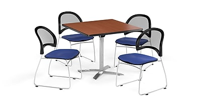 OFM 36 Inch Square Flip Top Cherry Table and Four Royal Blue Chairs (PKG-BRK-170-0010)