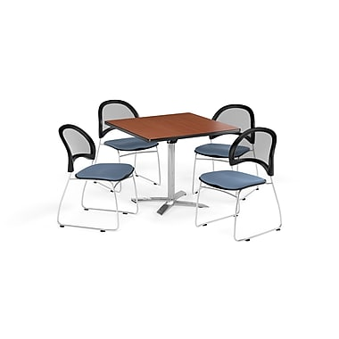 OFM 36 Inch Square Flip Top Cherry Table and Four Cornflower Blue Chairs (PKG-BRK-170-0006)