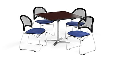OFM 36 Inch Square Flip Top Mahogany Table and Four Royal Blue Chairs (PKG-BRK-170-0042)