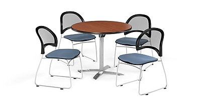 OFM 36 Inch Round Flip Top Cherry Table and Four Cornflower Blue Chairs (PKG-BRK-169-0006)