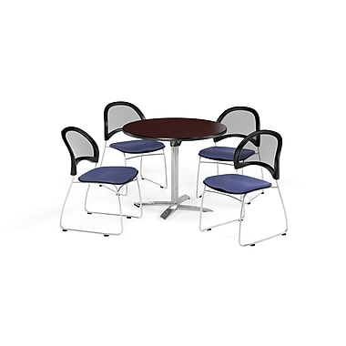OFM 36 Inch Round Flip Top Mahogany Table and Four Colonial Blue Chairs (PKG-BRK-169-0036)