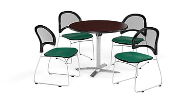OFM 36 Inch Round Flip Top Mahogany Table and Four Shamrock Green Chairs (PKG-BRK-169-0033)