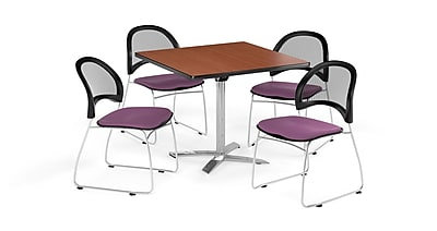 OFM 36 Inch Square Flip Top Cherry Table and Four Plum Chairs (PKG-BRK-170-0013)