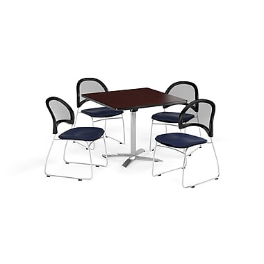 OFM 36 Inch Square Flip Top Mahogany Table and Four Navy Chairs (PKG-BRK-170-0035)