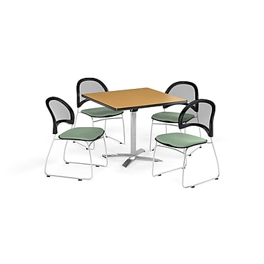 OFM 36 Inch Square Flip Top Oak Table and Four Sage Green Chairs (PKG-BRK-170-0055)
