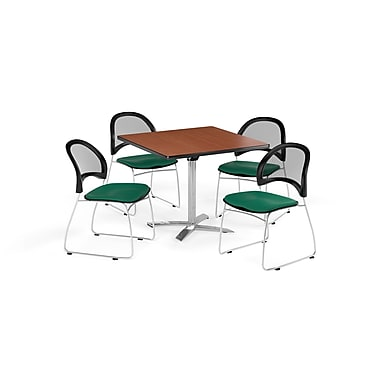 OFM 36 Inch Square Flip Top Cherry Table and Four Shamrock Green Chairs (PKG-BRK-170-0001)