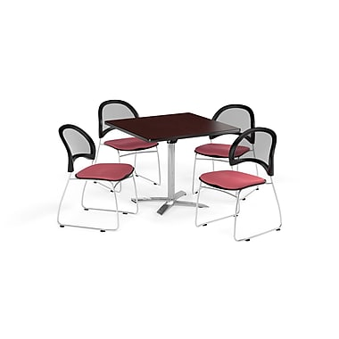 OFM 36 Inch Square Flip Top Mahogany Table and Four Coral Pink Chairs (PKG-BRK-170-0040)