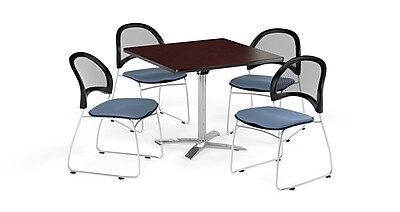 OFM 36 Inch Square Flip Top Mahogany Table and Four Cornflower Blue Chairs (PKG-BRK-170-0038)