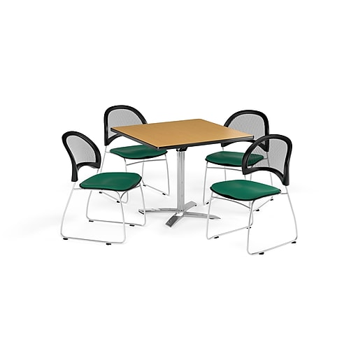 OFM 36 Inch Square Flip Top Oak Table and Four Shamrock Green Chairs (PKG-BRK-170-0049)