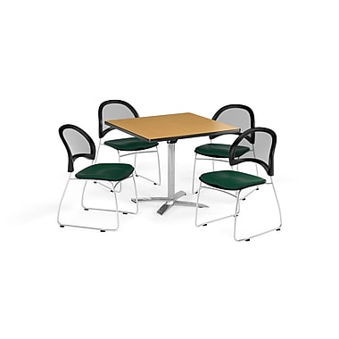 OFM 36 Inch Square Flip Top Oak Table and Four Forest Green Chairs (PKG-BRK-170-0063)