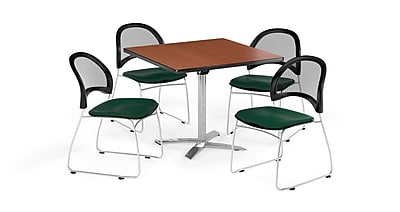 OFM 36 Inch Square Flip Top Cherry Table and Four Forest Green Chairs (PKG-BRK-170-0015)