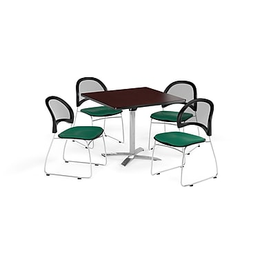 OFM 36 Inch Square Flip Top Mahogany Table and Four Shamrock Green Chairs (PKG-BRK-170-0033)