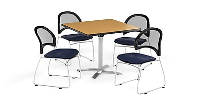 OFM 36 Inch Square Flip Top Oak Table and Four Navy Chairs (PKG-BRK-170-0051)