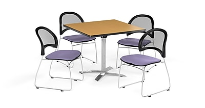 OFM 36 Inch Square Flip Top Oak Table and Four Lavender Chairs (PKG-BRK-170-0050)