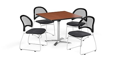 OFM 36 Inch Square Flip Top Cherry Table and Four Slate Gray Chairs (PKG-BRK-170-0012)
