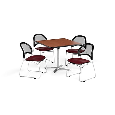 OFM 36 Inch Square Flip Top Cherry Table and Four Burgundy Chairs (PKG-BRK-170-0011)