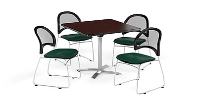 OFM 36 Inch Square Flip Top Mahogany Table and Four Forest Green Chairs (PKG-BRK-170-0047)