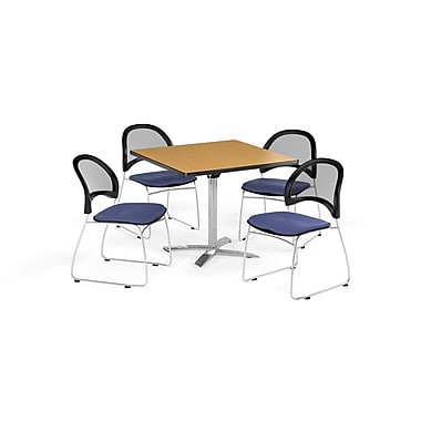 OFM 36 Inch Square Flip Top Oak Table and Four Colonial Blue Chairs (PKG-BRK-170-0052)