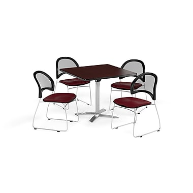 OFM 36 Inch Square Flip Top Mahogany Table and Four Burgundy Chairs (PKG-BRK-170-0043)