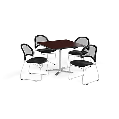 OFM 36 Inch Square Flip Top Mahogany Table and Four Black Chairs (PKG-BRK-170-0048)