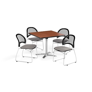 OFM 36 Inch Square Flip Top Cherry Table and Four Putty Chairs (PKG-BRK-170-0014)