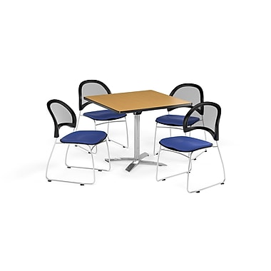 OFM 36 Inch Square Flip Top Oak Table and Four Royal Blue Chairs (PKG-BRK-170-0058)
