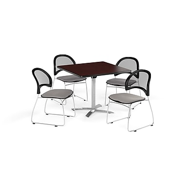 OFM 36 Inch Square Flip Top Mahogany Table and Four Putty Chairs (PKG-BRK-170-0046)