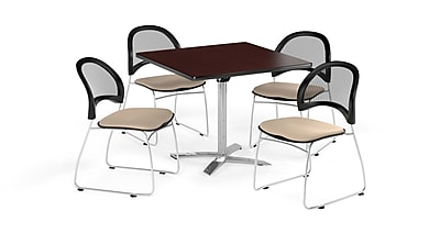 OFM 36 Inch Square Flip Top Mahogany Table and Four Khaki Chairs (PKG-BRK-170-0041)