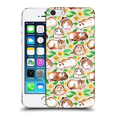 Official Micklyn Le Feuvre Patterns 2 Guinea Pigs And Daisies In Watercolour On Tan Hard Back Case For Apple Iphone 5 / 5S / Se