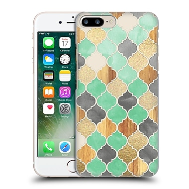 Official Micklyn Le Feuvre Quatrefoil 2 Charcoal Mint Wood And Gold Moroccan Pattern Hard Back Case For Apple Iphone 7 Plus