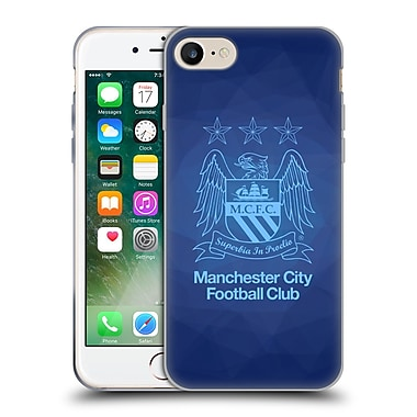Official Manchester City Man City Fc Crest Geometric Obsidian Outline Sky Blue Soft Gel Case For Apple Iphone 7