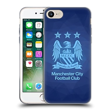Official Manchester City Man City Fc Crest Geometric Obsidian Full Sky Blue Soft Gel Case For Apple Iphone 7