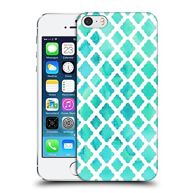 Official Micklyn Le Feuvre Quatrefoil Watercolour Mint Diamonds Hard Back Case For Apple Iphone 5 / 5S / Se