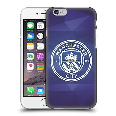 Official Manchester City Man City Fc Badge Geometric Obsidian White Mono Hard Back Case For Apple Iphone 6 / 6S