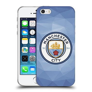 Official Manchester City Man City Fc Badge Geometric Blue Full Colour Soft Gel Case For Apple Iphone 5 / 5S / Se