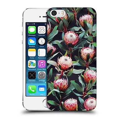 Official Micklyn Le Feuvre Florals 2 Evening Proteas Pink On Charcoal Hard Back Case For Apple Iphone 5 / 5S / Se