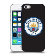 Official Manchester City Man City Fc Badge Black White Outline Soft Gel Case For Apple Iphone 5 / 5S / Se