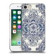 Official Micklyn Le Feuvre Floral Patterns Diamond Doodle In Navy Blue And Cream Soft Gel Case For Apple Iphone 7