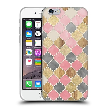 Official Micklyn Le Feuvre Quatrefoil 2 Moroccan Wood Pattern Soft Gel Case For Apple Iphone 6 / 6S