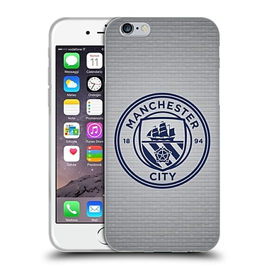 Official Manchester City Man City Fc Badge Pixels Tile Obsidian Mono Soft Gel Case For Apple Iphone 6 / 6S