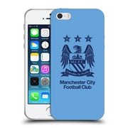 Official Manchester City Man City Fc Crest Obsidian On Sky Blue Soft Gel Case For Apple Iphone 5 / 5S / Se