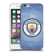 Official Manchester City Man City Fc Badge Geometric Blue Full Colour Soft Gel Case For Apple Iphone 6 / 6S