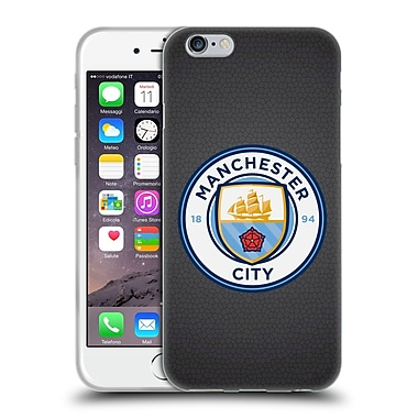 Official Manchester City Man City Fc Badge Pixels Black Mosaic Full Colour Soft Gel Case For Apple Iphone 6 / 6S