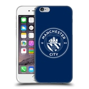 Official Manchester City Man City Fc Badge Obsidian White Outline Soft Gel Case For Apple Iphone 6 / 6S