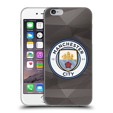 Official Manchester City Man City Fc Badge Geometric Black Full Colour Soft Gel Case For Apple Iphone 6 / 6S