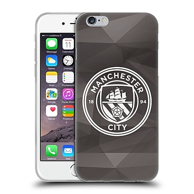 Official Manchester City Man City Fc Badge Geometric Black White Mono Soft Gel Case For Apple Iphone 6 / 6S