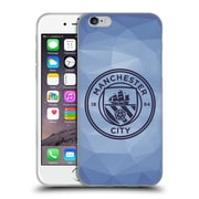 Official Manchester City Man City Fc Badge Geometric Blue Obsidian Mono Soft Gel Case For Apple Iphone 6 / 6S